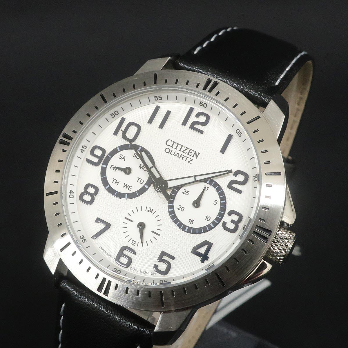 CITIZEN シチズン メンズクォーツ時計 AG8310-08A ホワイト